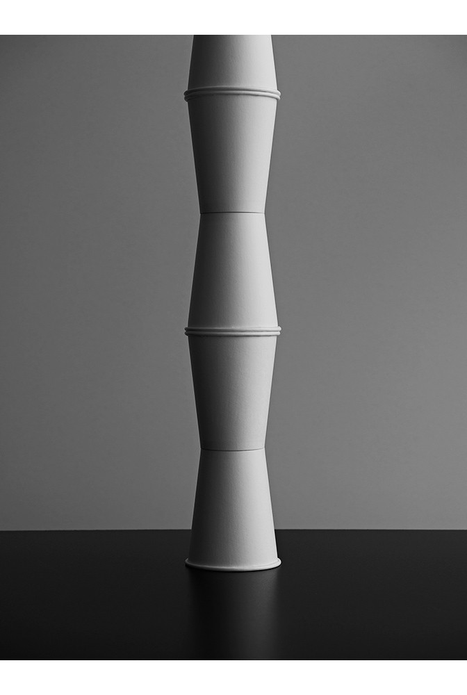 white paper cup tower